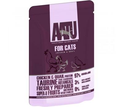 AATU паучи для кошек с курицей и перепелом, AATU FOR CATS CHICKEN & QUAIL - 85 г