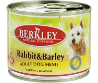 Berkley консервы для собак с кроликом и ячменем, Adult Rabbit&Barley - 200 г