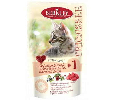 """Berkley паучи для котят """"Фрикасе с цыпленком и телятиной"""", №1 - 100 г"""