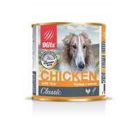 """BLITZ Консервы """"Курица с рисом"""" корм консервированный полнорационный для собак всех пород и возрастов 750 гр"""