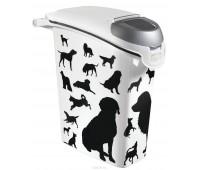 """Контейнер для корма """"Собаки"""", черно-белый, на 10кг/23л, 23 х 50 х 50 см"""