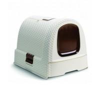Туалет-домик для кошек, кремово-коричневый, 51*39*40см