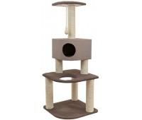 Комплекс-когтеточка Хайтек 3-х уровневый угловой с домиком, рогожка, джут беленый 55*55*h144см