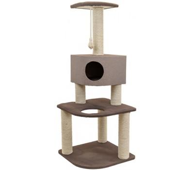 Дарэлл 82134дб Комплекс-когтеточка Хайтек 3-х уровневый угловой с домиком, рогожка, джут беленый 55*55*h144см