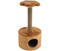 Домик-когтеточка Куб круглый с полкой, столбик джут 38*38*h71см