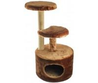 Домик-когтеточка круглый с 2-мя полками, столбик джут 48*40*h71см