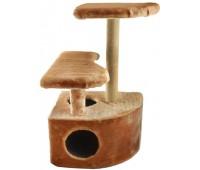 Домик-когтеточка угловой со ступенькой, столбик джут 48*51*h71см