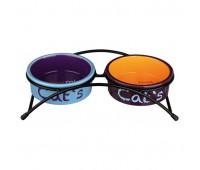 Миски керамические на подставке, 2 х0,3л, 12 см (голубой,оранжевый,фиолетовый)