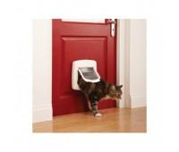 """Дверца для кошек """"Делюкс"""" с 4 позициями магнитная - белая"""
