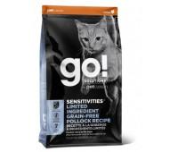 Корм GO! NATURAL Holistic беззерновой для котят и кошек с чувствительным пищеварением, с треской, Sensitivity + Shine Grain Free Pollock Cat Recipe