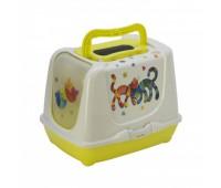 Moderna туалет-домик Trendy cat с угольным фильтром и совком, 50х39.5х37.5 см, лимонно-желтый