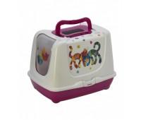 Moderna туалет-домик Trendy cat с угольным фильтром и совком, 57х45х43, Друзья навсегда, ярко-розовый
