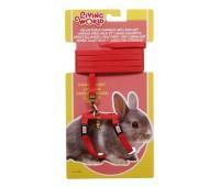 Шлейка с поводком для карликовых кроликов, красная