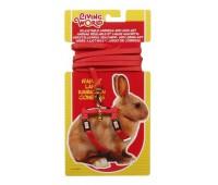 Шлейка с поводком для кроликов, красная
