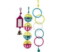 Набор игрушек для птиц (4 пластиковых шарика, олимпийские кольца и зеркало с колокольчиком)