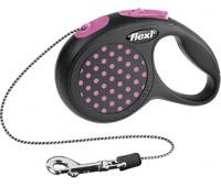 FLEXI рулетка Design XS (до 8 кг) 3 м трос черная/розовый горошек