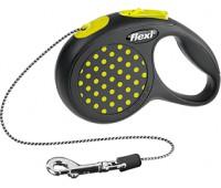 FLEXI рулетка Design XS (до 8 кг) 3 м трос черная/желтый горошек