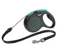 FLEXI рулетка Design XS (до 8 кг) 3 м трос черная/голубой горошек