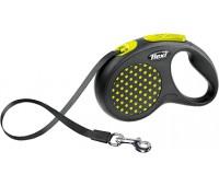 FLEXI рулетка Design S (до 15 кг) 5 м лента черная/желтый горошек