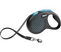 FLEXI рулетка Design M-L (до 50 кг) 5 м лента черная/голубой горошек