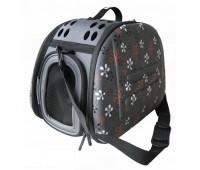 Ibiyaya складная сумка-переноска для собак и кошек до 6 кг серая в цветочек