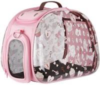 Ibiyaya складная сумка-переноска для собак и кошек до 6 кг прозрачная/розовая дизайн сердечки