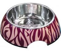 SuperDesign миска на меламиновой подставке Зебра 0,35 л розовая
