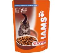 Iams® Adult пауч для кошек с мясом говядины в соусе 100 г