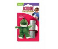 """Kong игрушка для кошек """"Лягушка"""" плюш с тубом кошачьей мяты"""