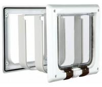 Дверца для кошки белая, 4 позиции, с туннелем