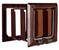 Дверца для кошки коричневая, 4 позиции, с туннелем