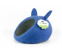 """Домик- слипер """"Уютное гнездышко"""" с ушками (шерсть, форма круг, синий)"""