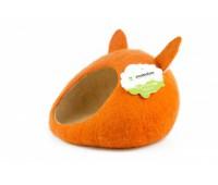 """Домик- слипер """"Уютное гнездышко"""" с ушками (шерсть, форма круг, оранжевый)"""